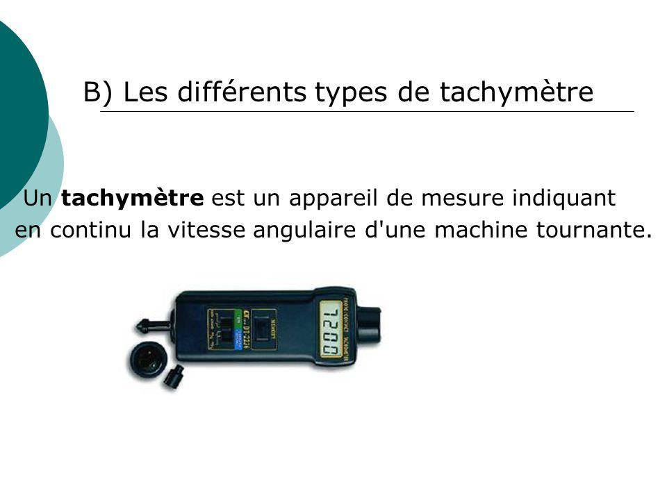 B) Les différents types de tachymètre