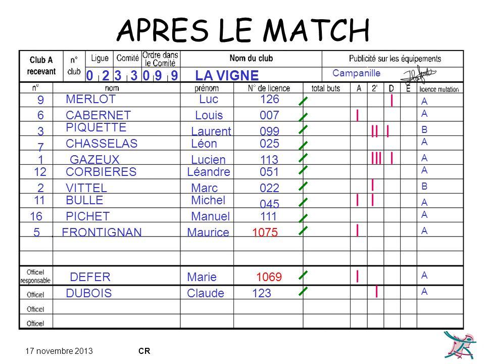 APRES LE MATCH 2 3 3 9 9 LA VIGNE 9 MERLOT Luc 126 6 CABERNET Louis