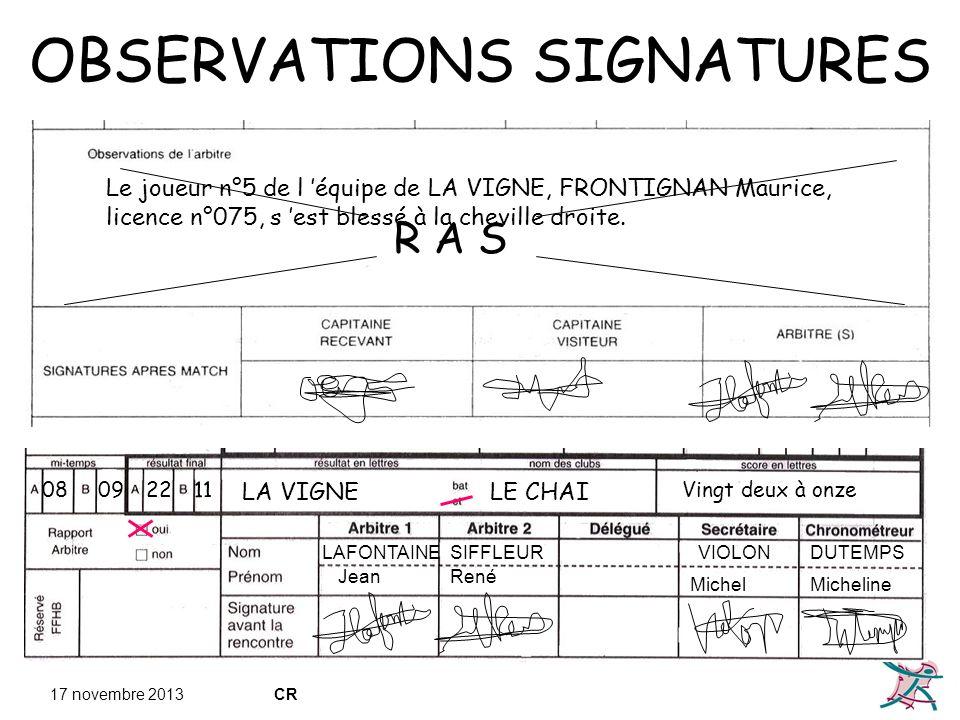 OBSERVATIONS SIGNATURES