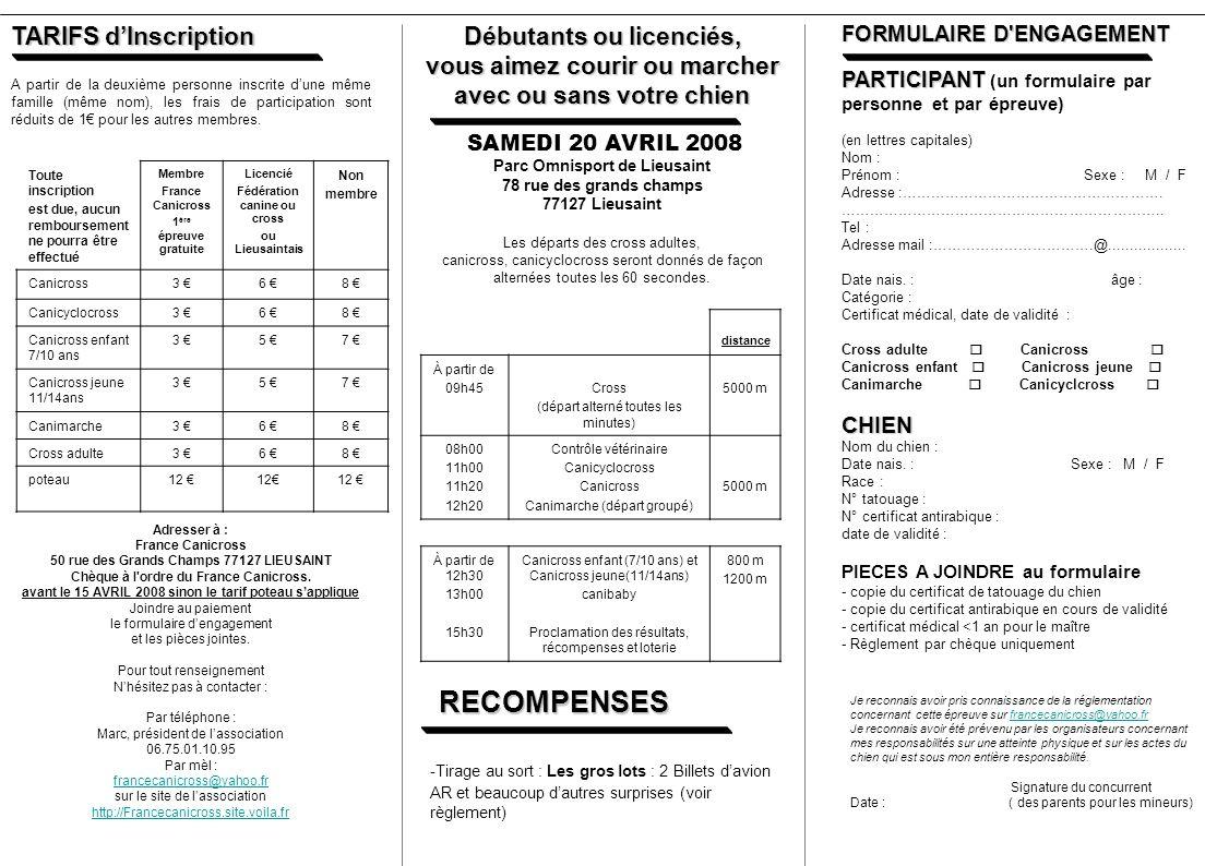 RECOMPENSES TARIFS d'Inscription Débutants ou licenciés,