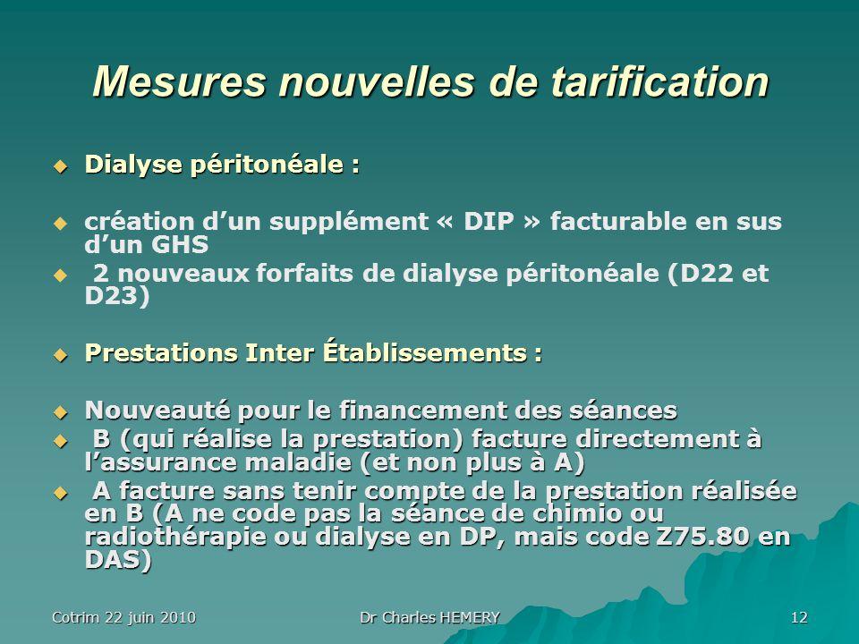 Mesures nouvelles de tarification