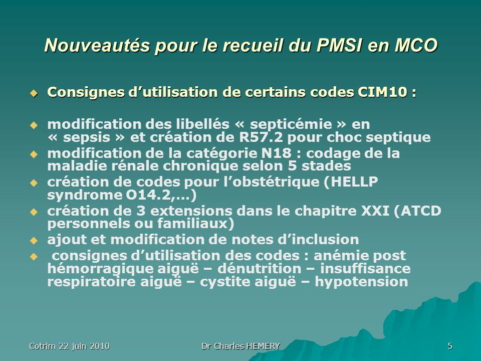 Nouveautés pour le recueil du PMSI en MCO