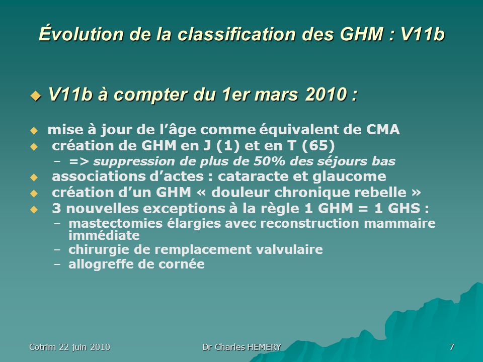 Évolution de la classification des GHM : V11b