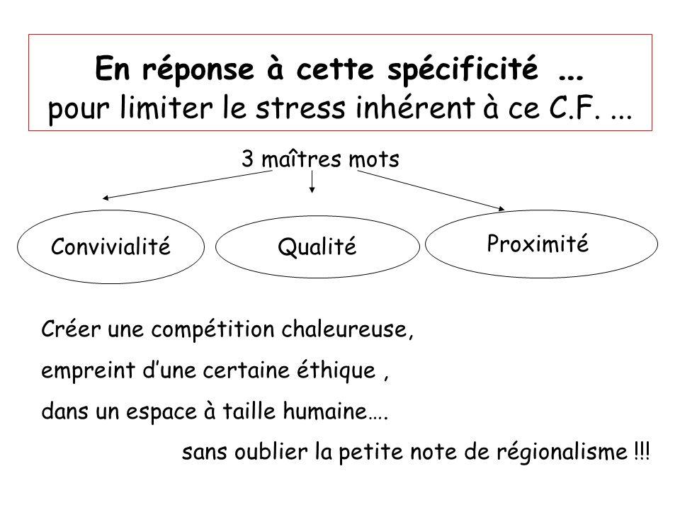 En réponse à cette spécificité … pour limiter le stress inhérent à ce C.F. ...
