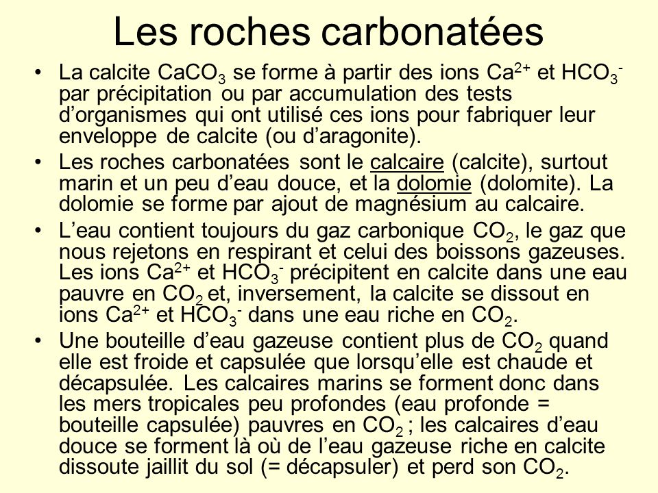 Les roches carbonatées