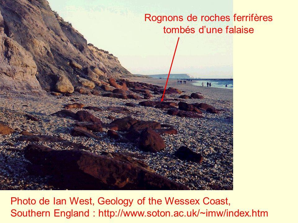 Rognons de roches ferrifères tombés d'une falaise