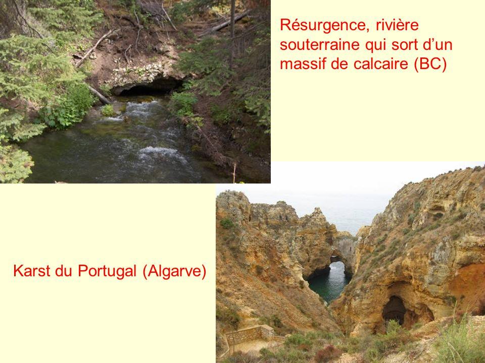 Résurgence, rivière souterraine qui sort d'un massif de calcaire (BC)