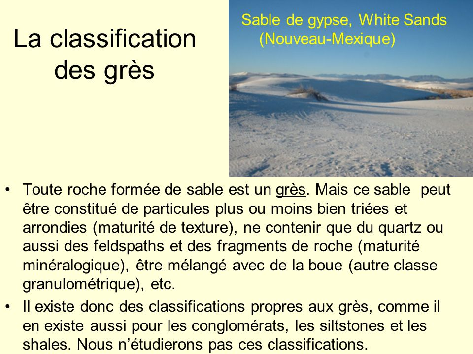 La classification des grès