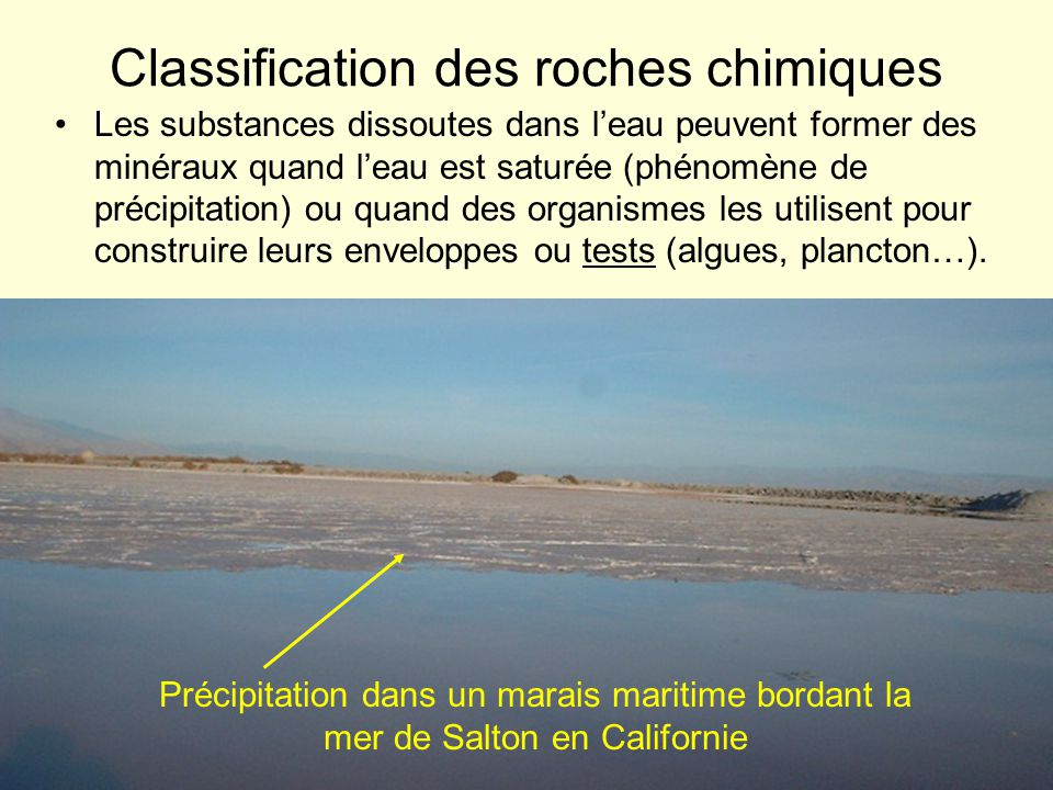 Classification des roches chimiques