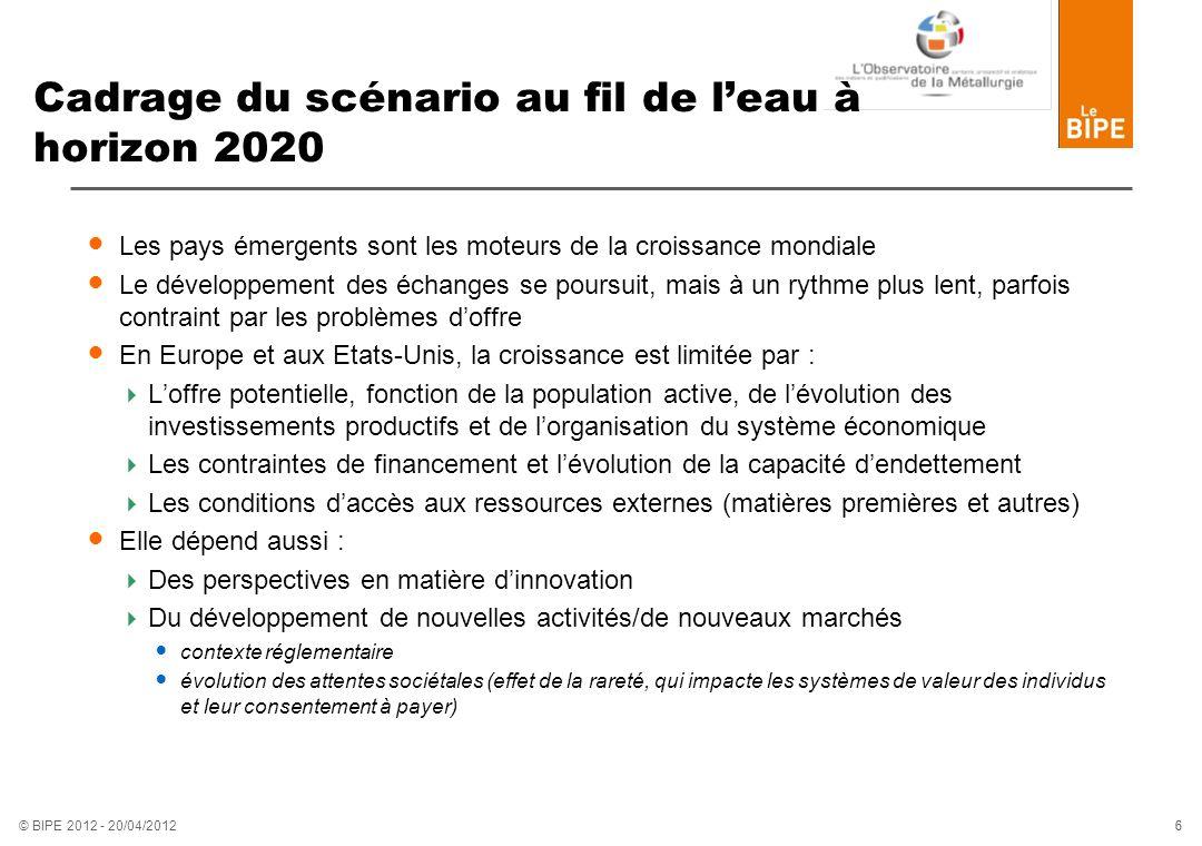 Cadrage du scénario au fil de l'eau à horizon 2020