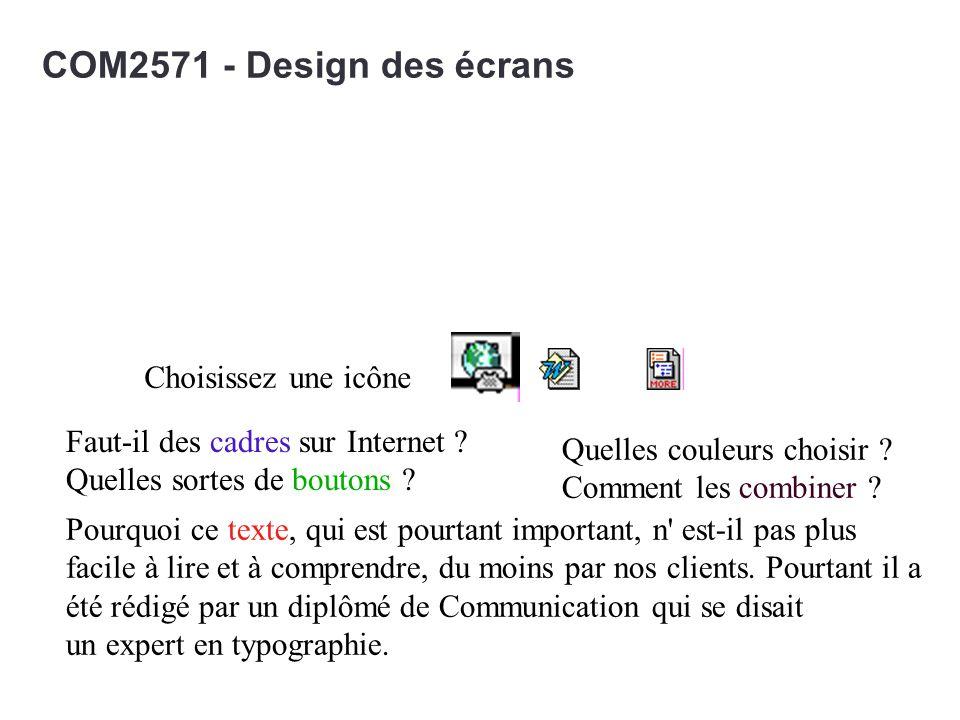 COM2571 - Design des écrans Choisissez une icône