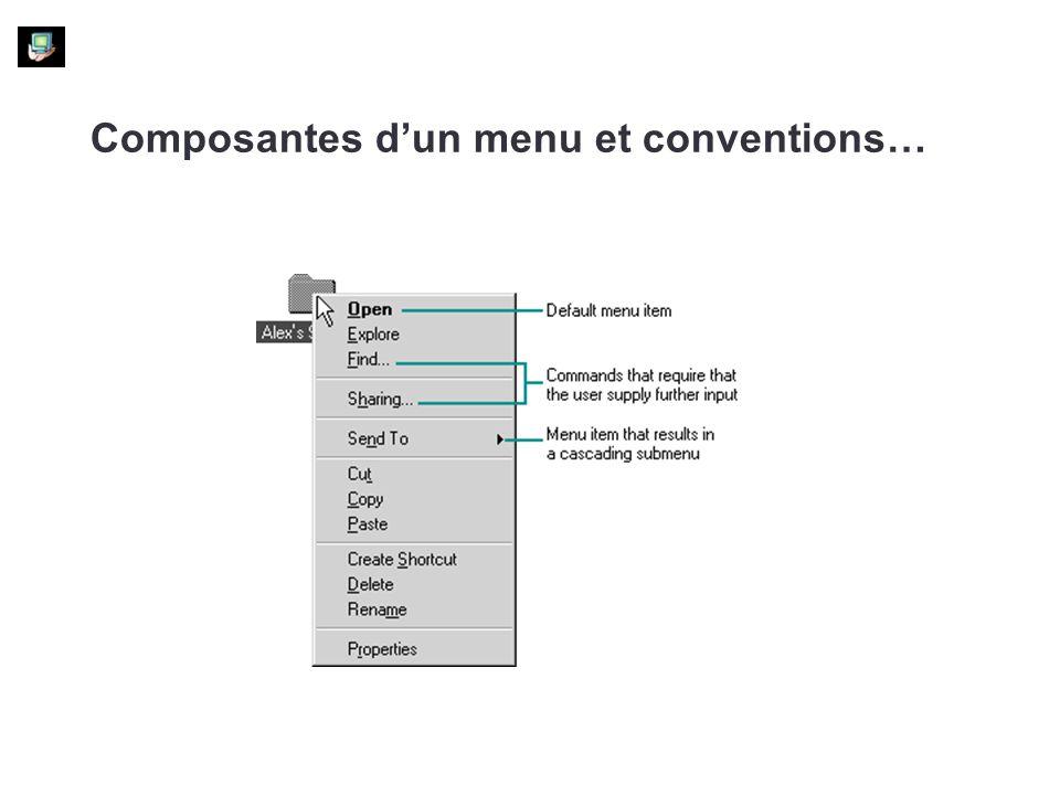 Composantes d'un menu et conventions…