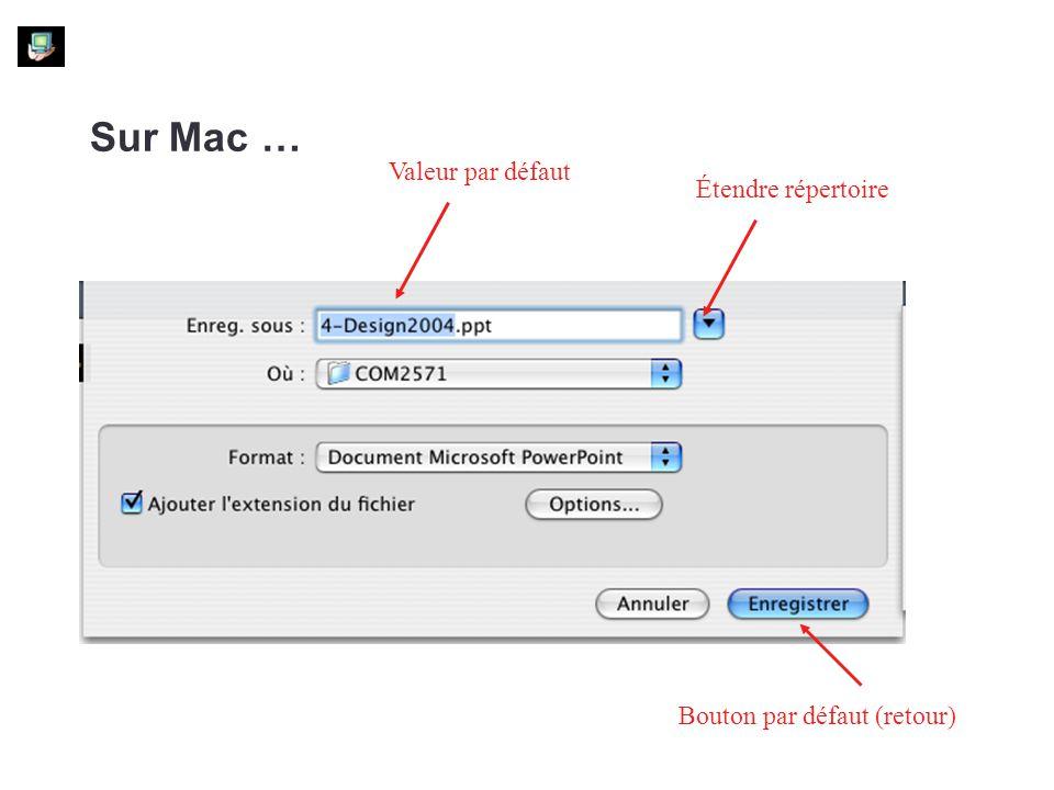 Sur Mac … Valeur par défaut Étendre répertoire