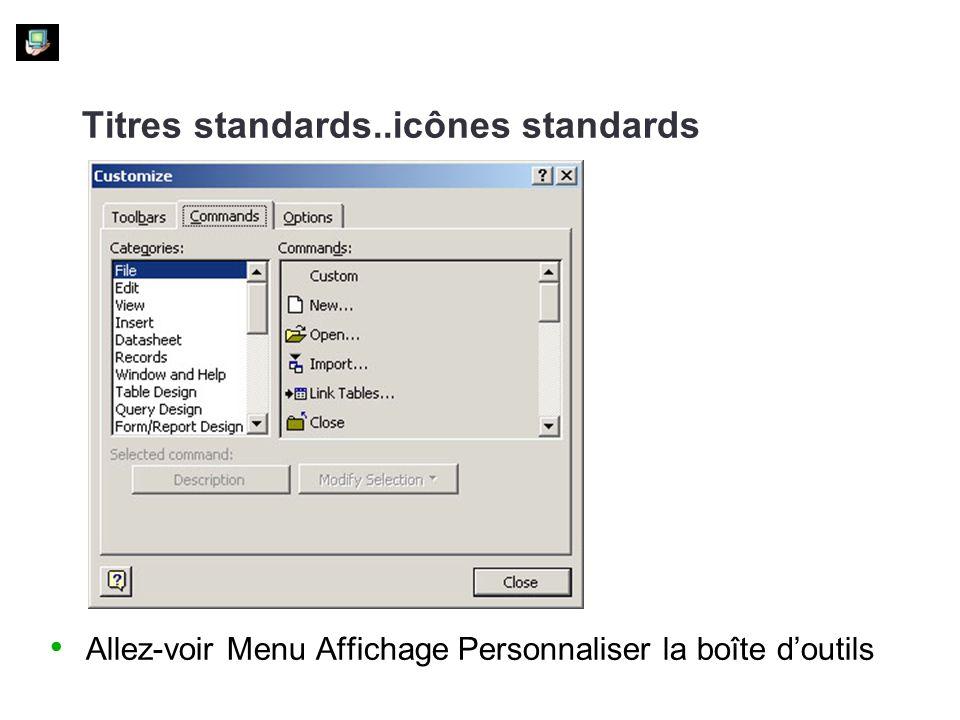 Titres standards..icônes standards
