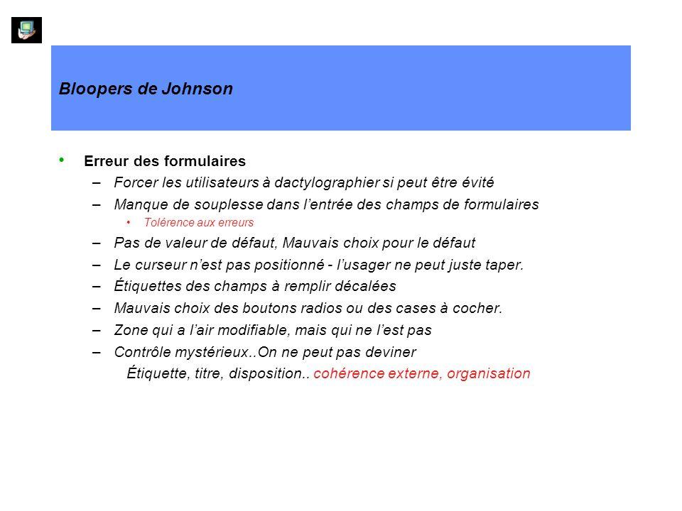 Bloopers de Johnson Erreur des formulaires