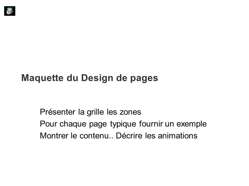 Maquette du Design de pages
