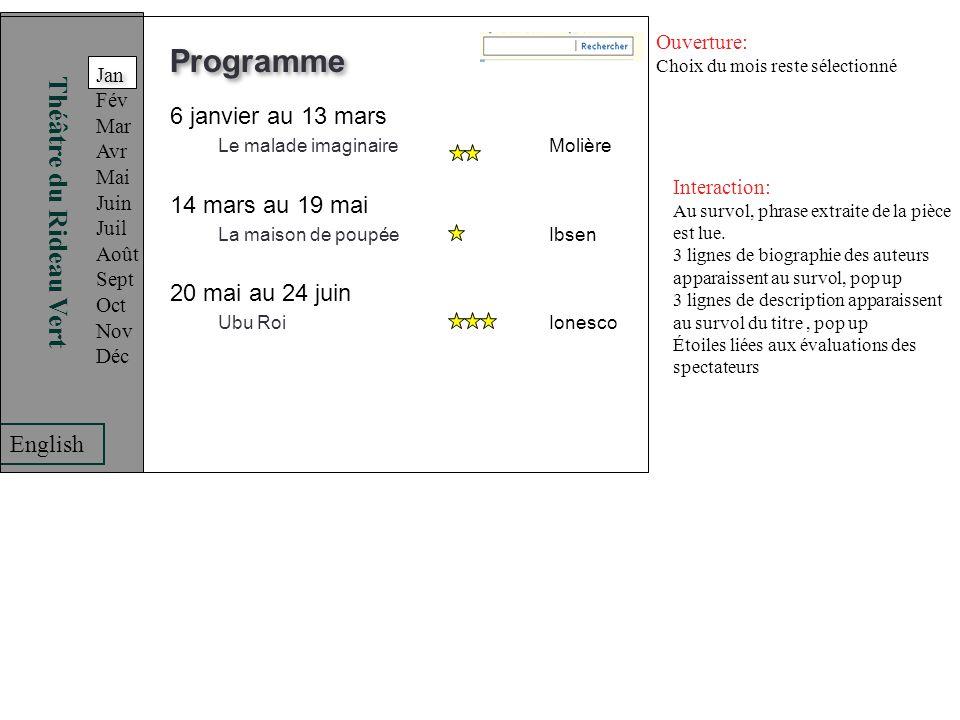 Programme Théâtre du Rideau Vert 6 janvier au 13 mars