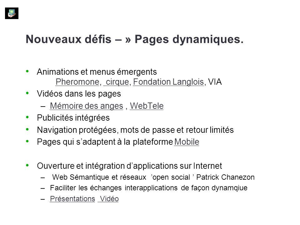 Nouveaux défis – » Pages dynamiques.