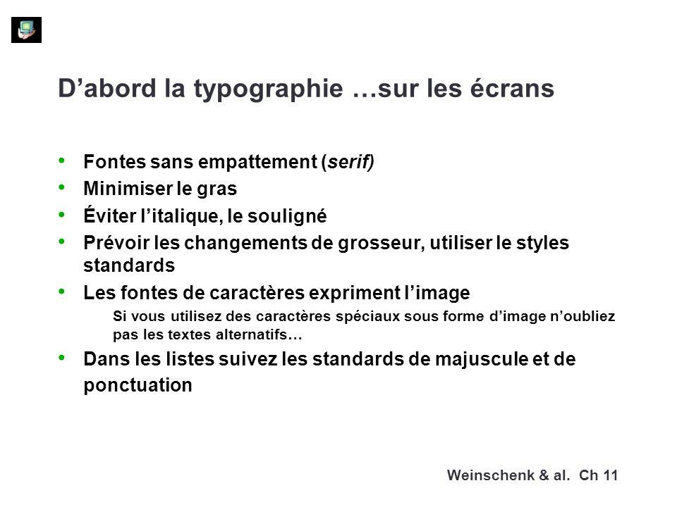 D'abord la typographie …sur les écrans