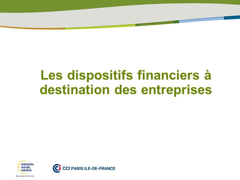 Les dispositifs financiers à destination des entreprises