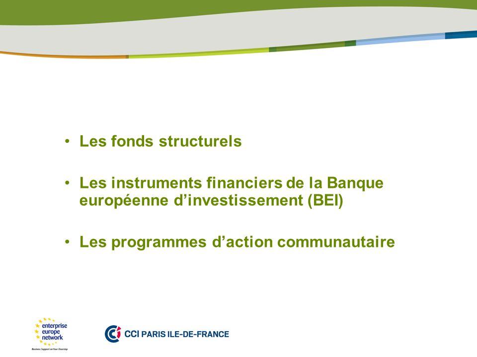 Les fonds structurels Les instruments financiers de la Banque européenne d'investissement (BEI) Les programmes d'action communautaire.