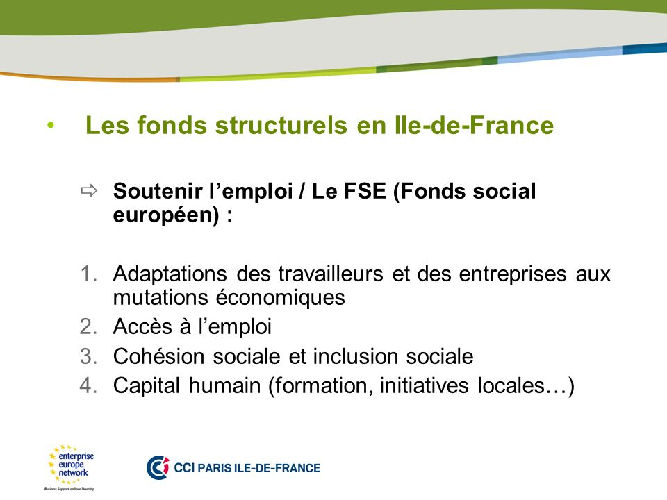 Les fonds structurels en Ile-de-France