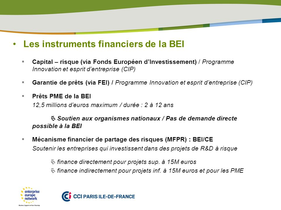 Les instruments financiers de la BEI