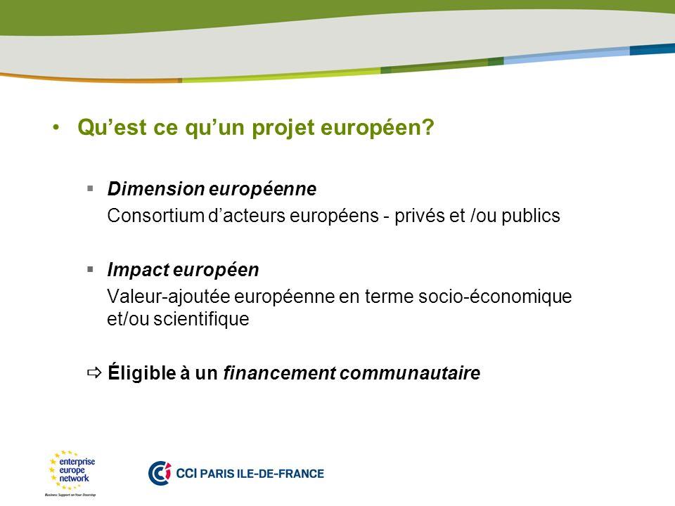 Qu'est ce qu'un projet européen