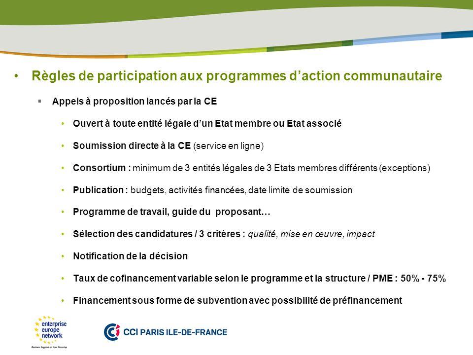 Règles de participation aux programmes d'action communautaire