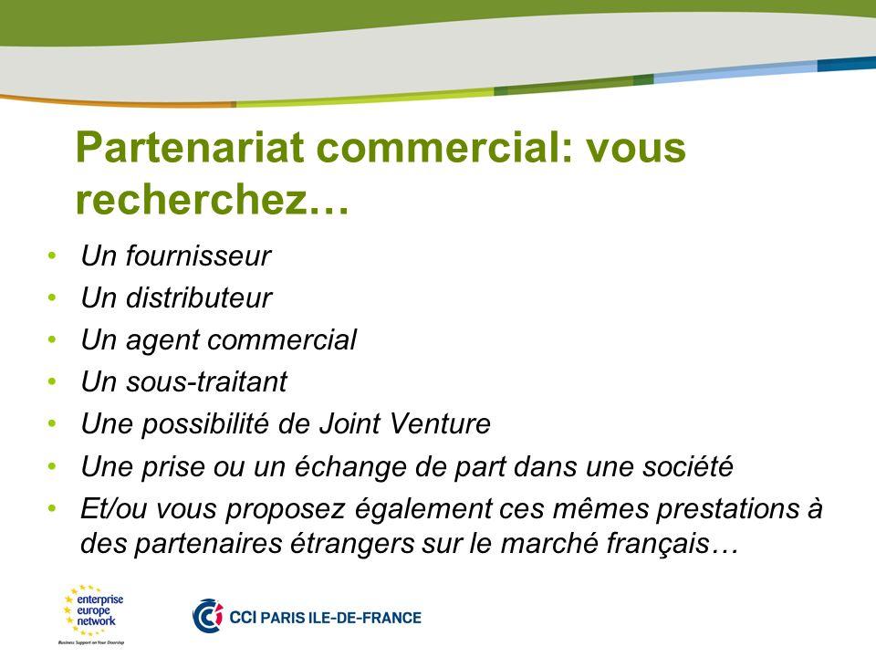 Partenariat commercial: vous recherchez…