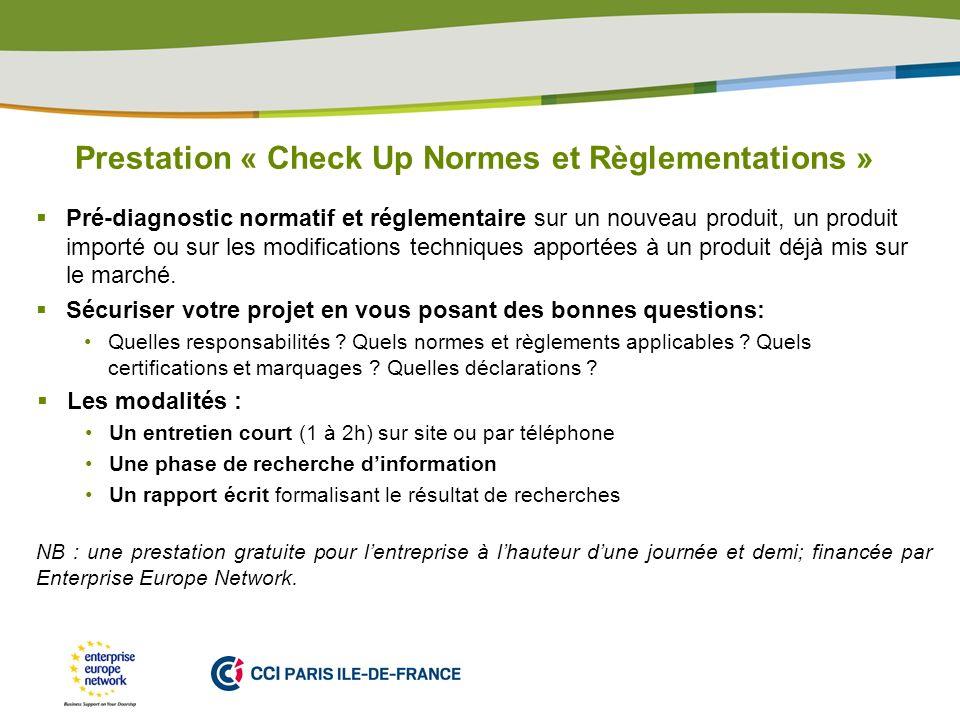 Prestation « Check Up Normes et Règlementations »