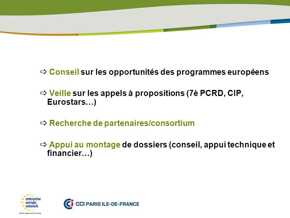  Conseil sur les opportunités des programmes européens