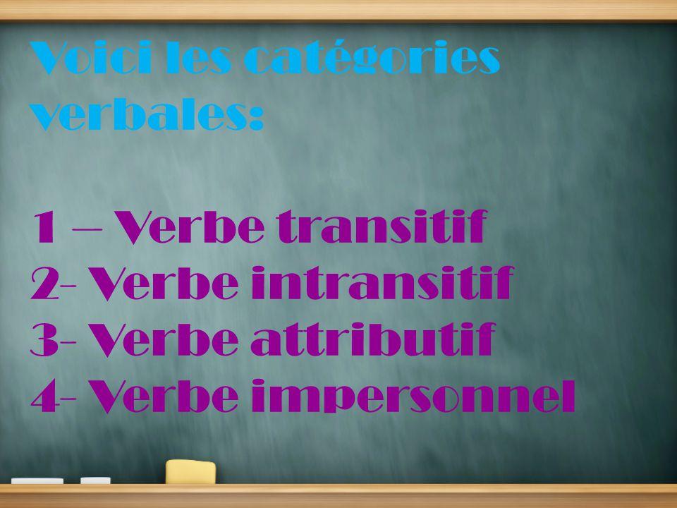 Voici les catégories verbales: