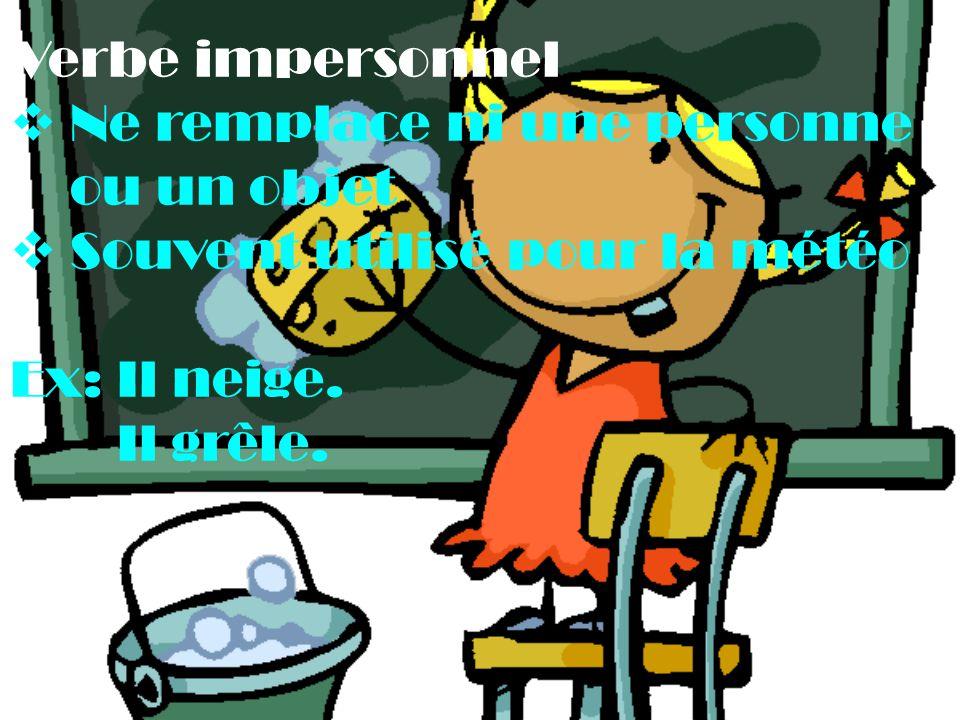 Verbe impersonnel Ne remplace ni une personne ou un objet. Souvent utilisé pour la météo. Ex: Il neige.