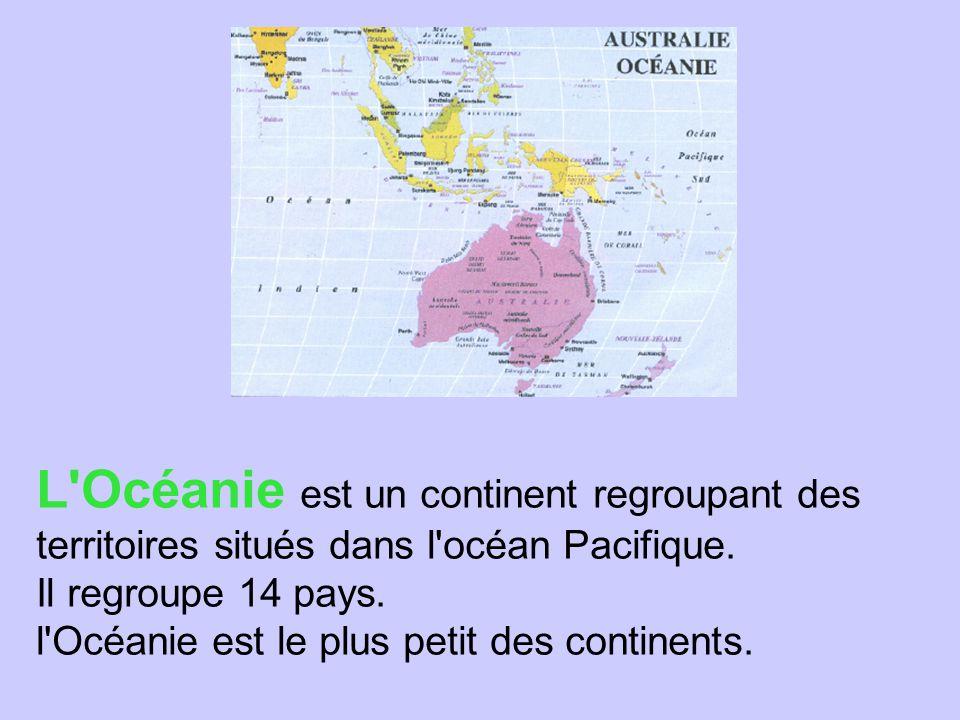 L Océanie est un continent regroupant des territoires situés dans l océan Pacifique.
