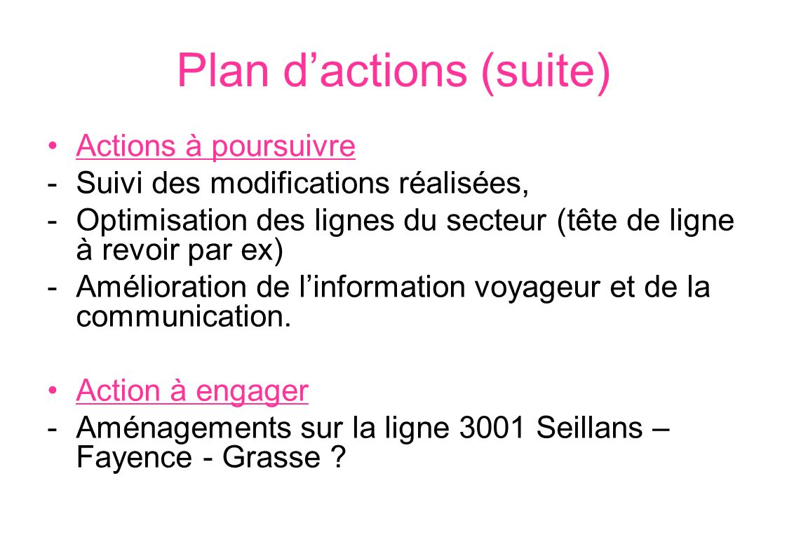 Plan d'actions (suite)