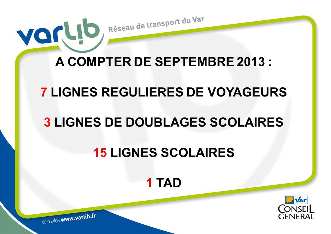 A COMPTER DE SEPTEMBRE 2013 : 7 LIGNES REGULIERES DE VOYAGEURS