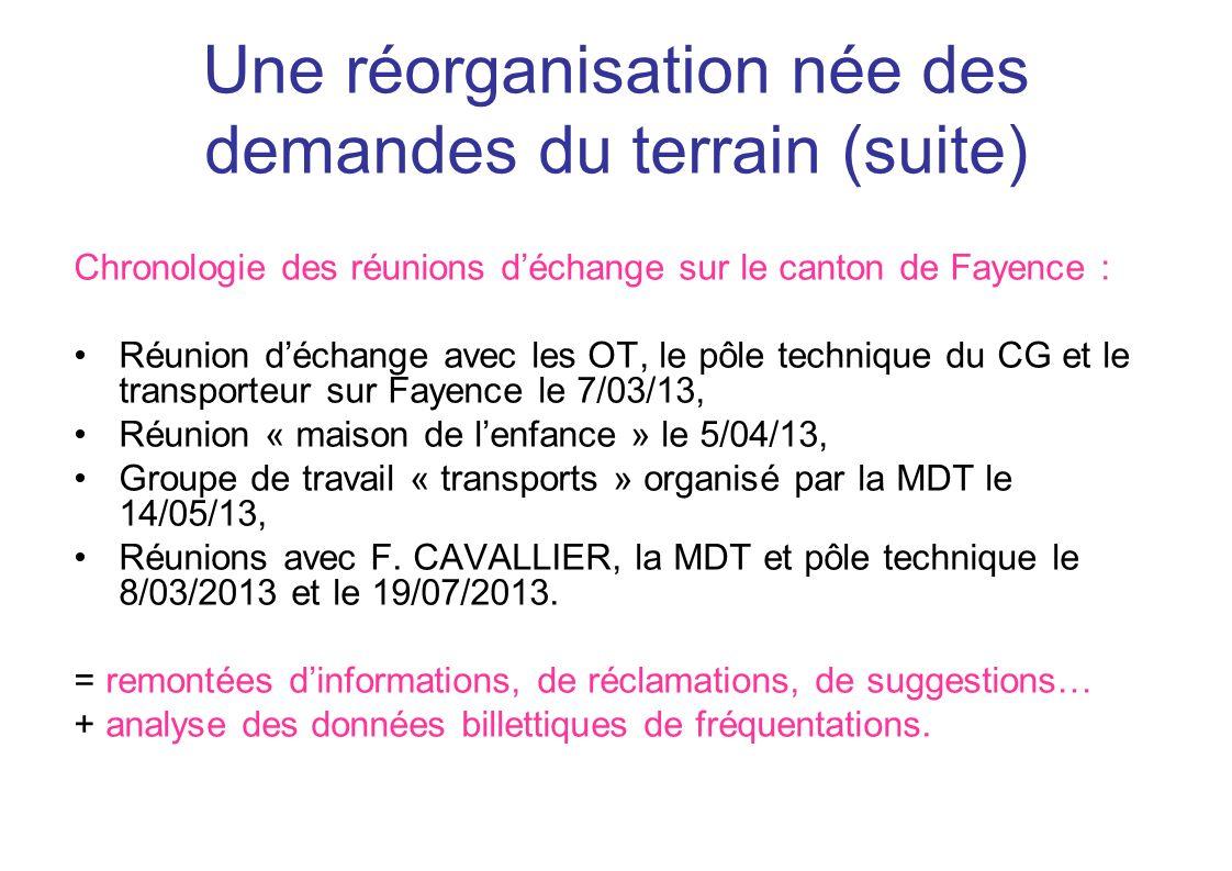 Une réorganisation née des demandes du terrain (suite)
