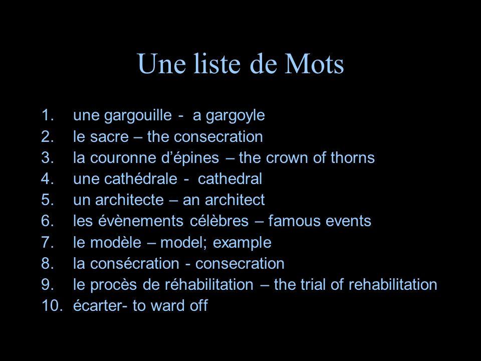 Une liste de Mots une gargouille - a gargoyle
