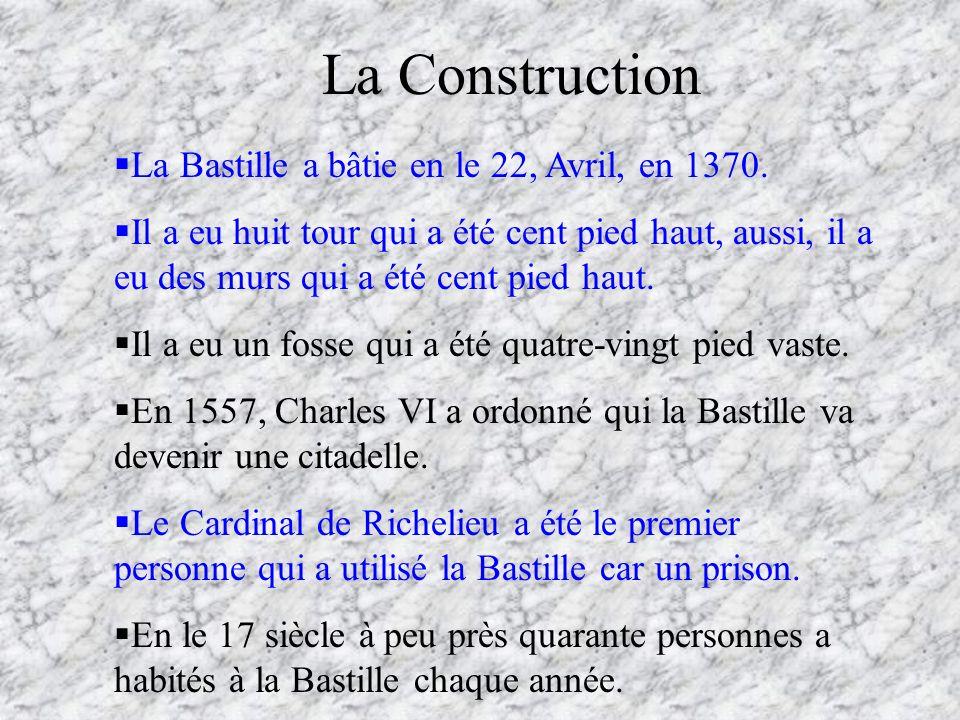 La Construction La Bastille a bâtie en le 22, Avril, en 1370.