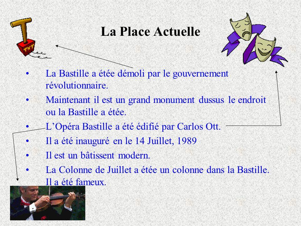 La Place Actuelle La Bastille a étée démoli par le gouvernement révolutionnaire.