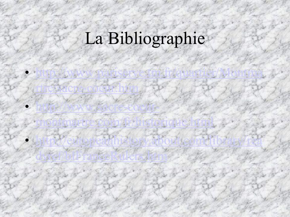 La Bibliographie http://www.pariserve.tm.fr/quartier/Montmartre/sacre-coeur.htm. http://www.sacre-coeur-montmartre.com/fr/historique.html.