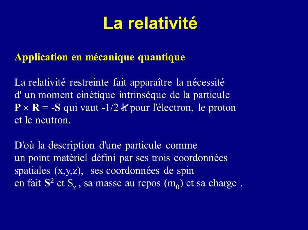 La relativité Application en mécanique quantique