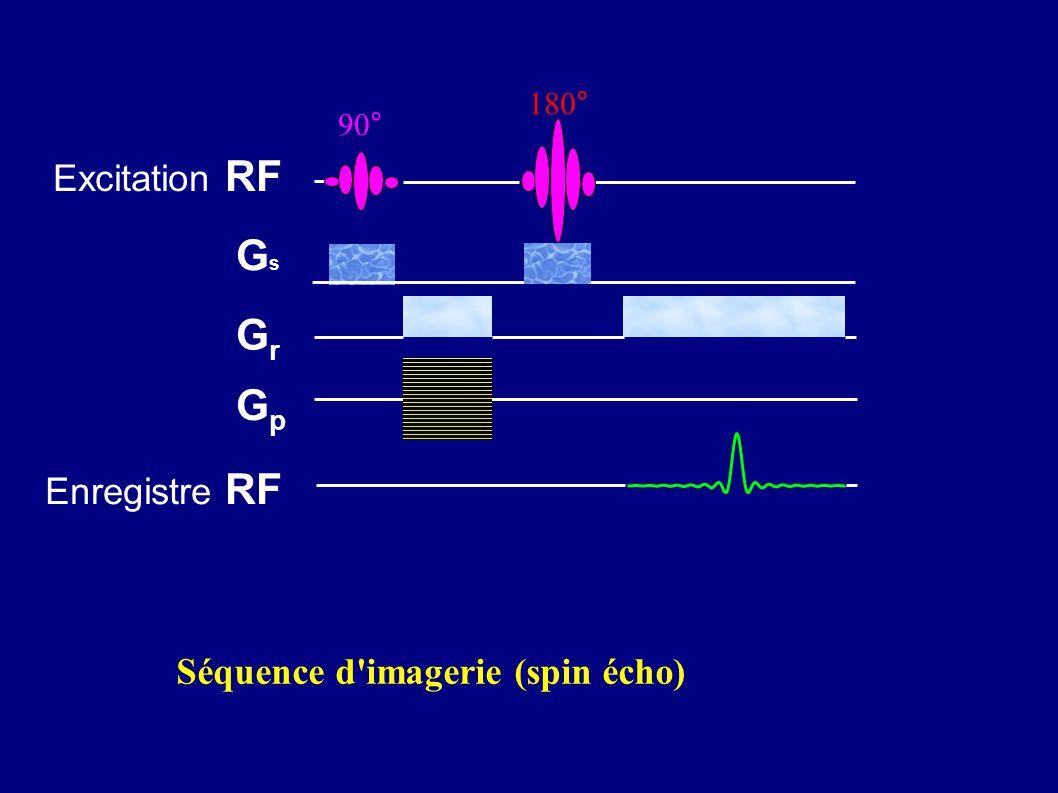 Gs Gr Gp Excitation RF Enregistre RF Séquence d imagerie (spin écho)