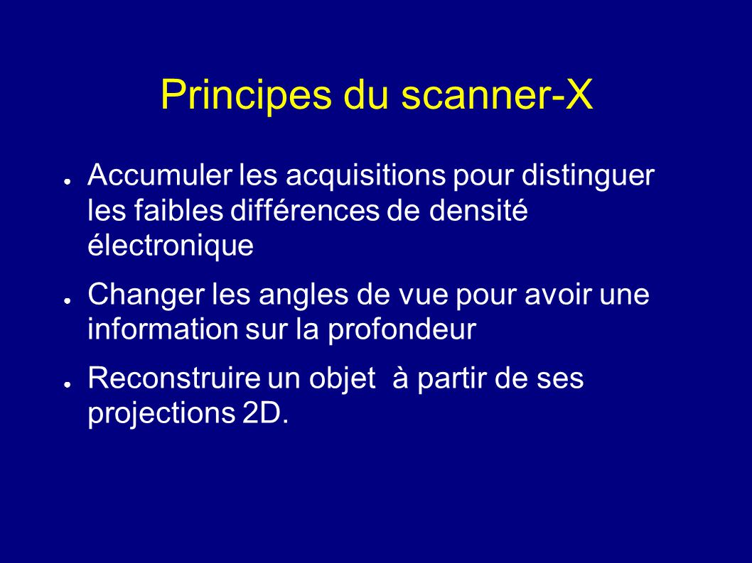 Principes du scanner-X