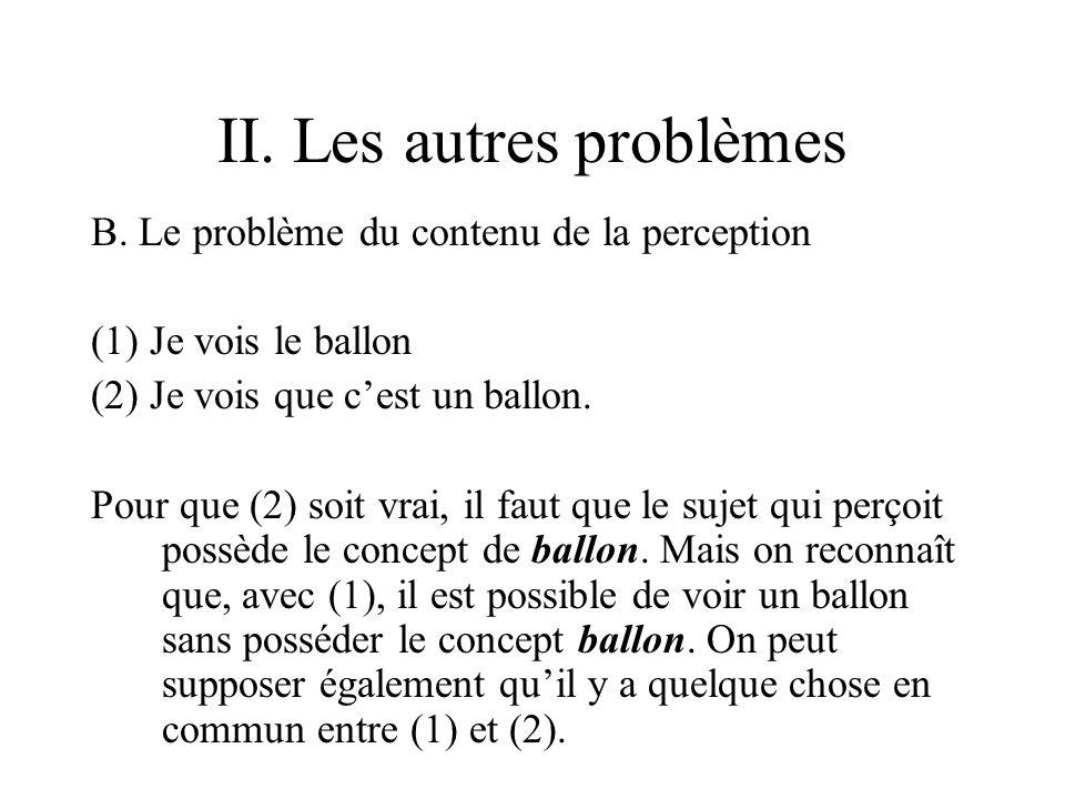 II. Les autres problèmes