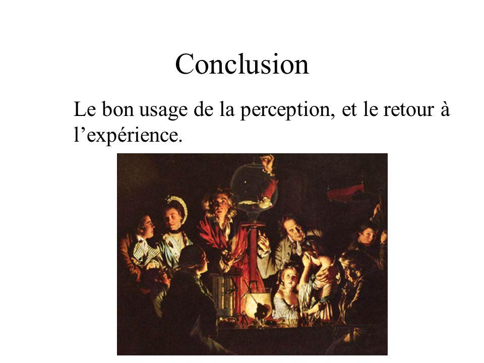 Conclusion Le bon usage de la perception, et le retour à l'expérience.