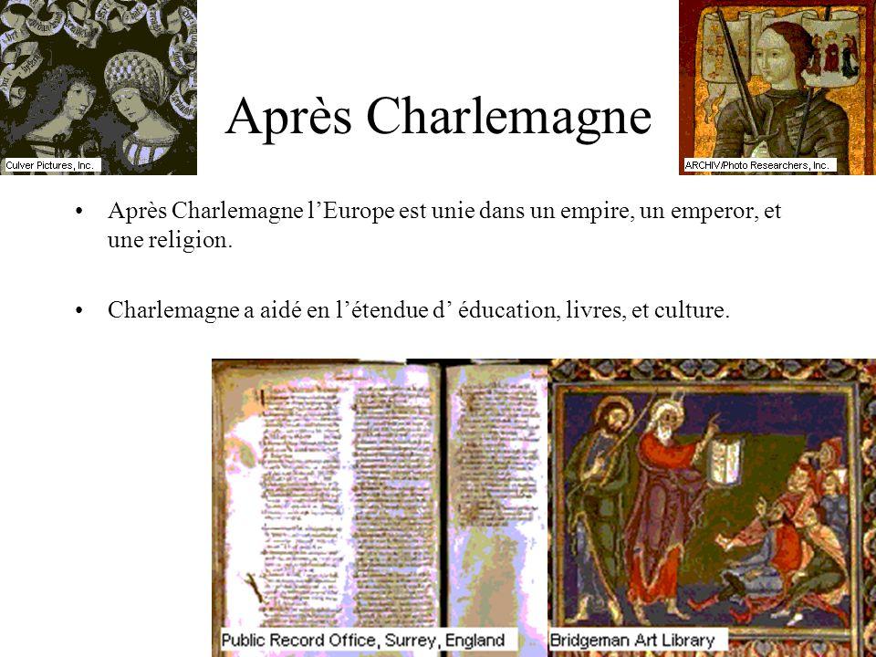 Après Charlemagne Après Charlemagne l'Europe est unie dans un empire, un emperor, et une religion.