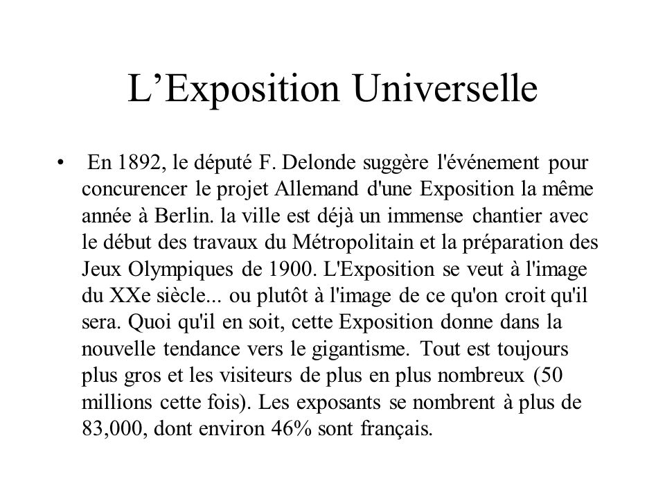 L'Exposition Universelle