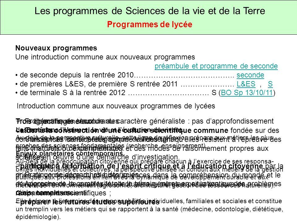 Les programmes de Sciences de la vie et de la Terre
